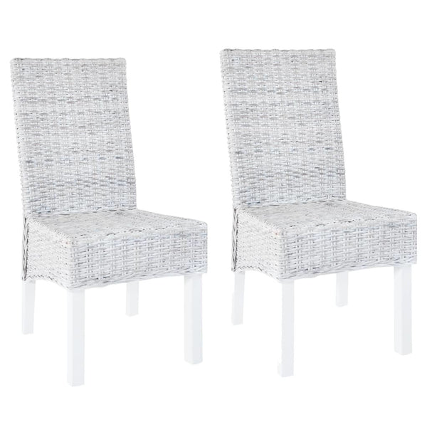 Dining Chairs 2 pcs Gray Kubu Rattan and Mango Wood - Dining Chairs - Dot On Top