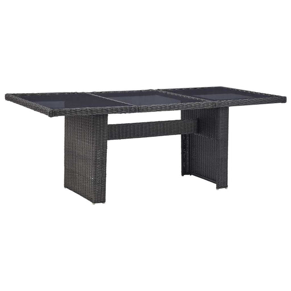 "Garden Dining Table Black 78.7""x39.4""x29.1"" Glass and Poly Rattan - Dining Tables - Dot On Top"