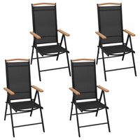 5 Piece Outdoor Dining Set with Folding Chairs Aluminium Black