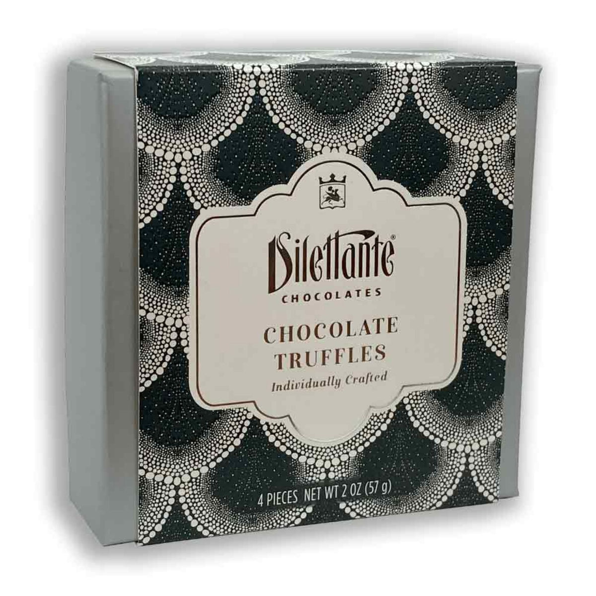 Dilettante Chocolates Individually Crafted chocolate Truffles in a 4-piece black gift box