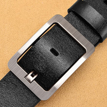 Load image into Gallery viewer, NO.ONEPAUL Genuine Leather For Men High Quality Black Buckle Jeans Belt Cowskin Casual Belts Business Belt Cowboy waistband