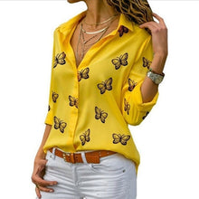 Load image into Gallery viewer, A Gorgeous Butterfly Print Turn-Down Collar Long Sleeve Elegant Blouse