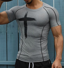 Load image into Gallery viewer, Mens Quick Dry Fitness Printed Tees Outdoor SPORT Running Climbing Short Sleeves Shirt Tights Bodybuilding Tops