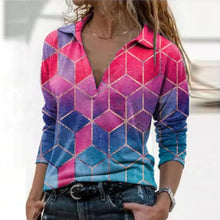 Load image into Gallery viewer, Women Vintage Geometric Print Blouse Shirt Spring Autumn Casual Long Sleeve Pullover Tops Ladies 3XL Elegant V Neck Loose Blusa