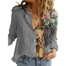 Load image into Gallery viewer, Women Portrait Print Turn-down Collar Button Blouse Shirt 2020 Autumn Long Sleeve Tops Lady New Casual Plus Size Vintage Blouses