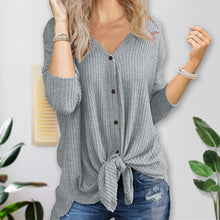 Load image into Gallery viewer, A Comfortable, yet Quietly Gorgeous Tie Knot Button Waffle V Neck Cardigan