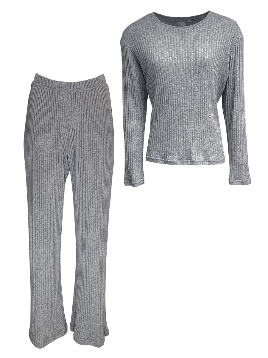 Classic LUXE Loungewear 2 Piece Set, Grey Rib Knit
