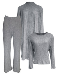 Classic LUXE Loungewear 3 Piece Set, Grey Rib Knit