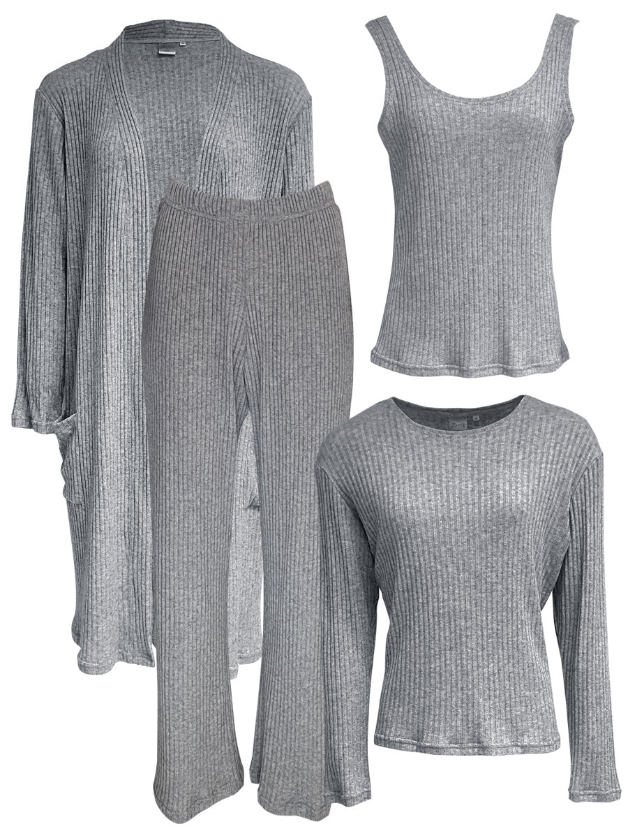 Classic LUXE Loungewear 4 Piece Set, Grey Rib Knit
