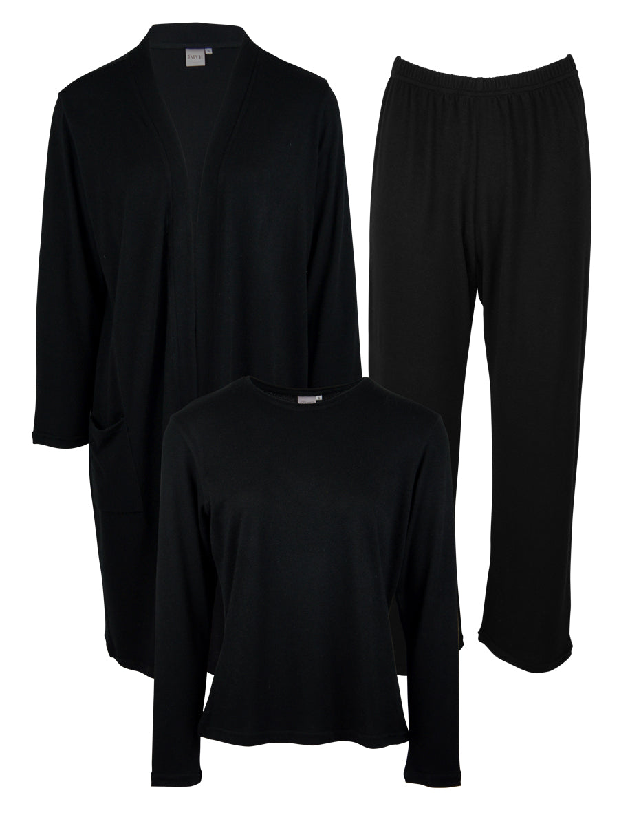 Classic LUXE Loungewear 3 Piece Set, Black