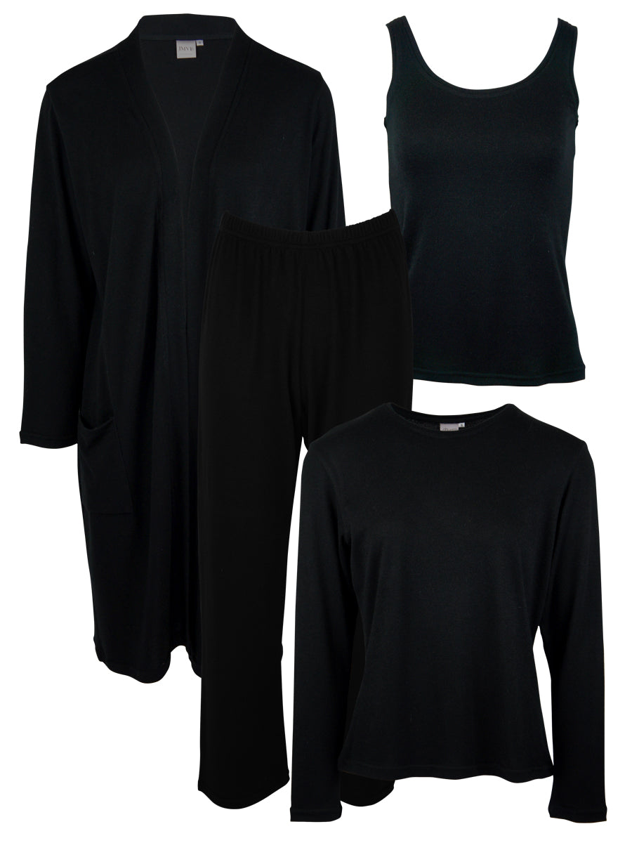 Classic LUXE Loungewear 4 Piece Set, Black
