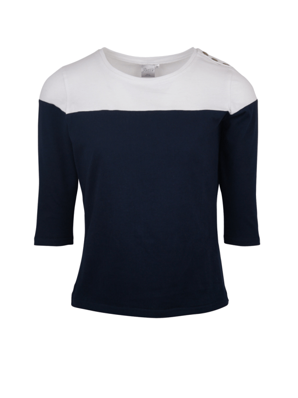 3/4 Sleeve Colour Block Top, Navy and White