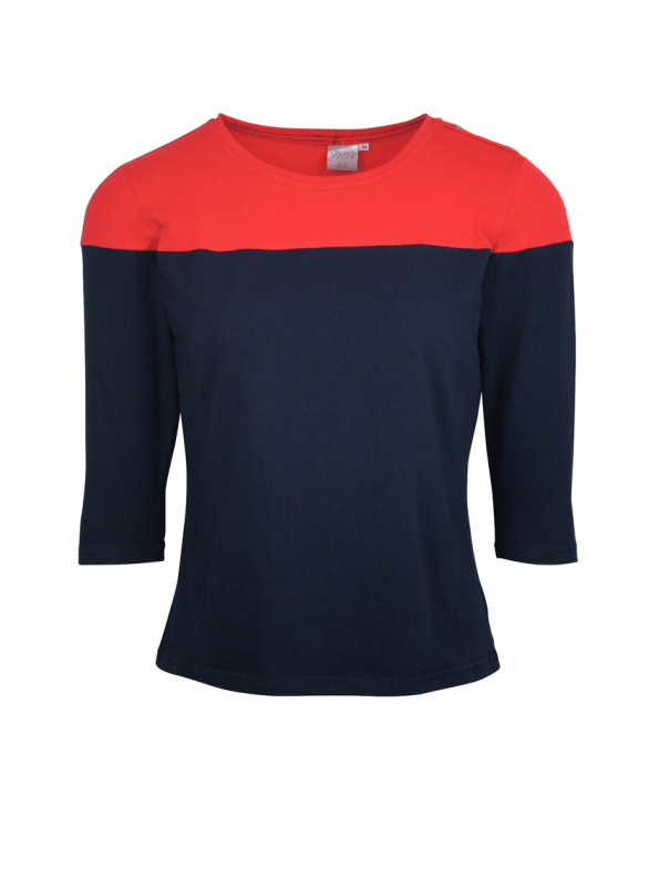 3/4 Sleeve Colour Block Top, Navy and red
