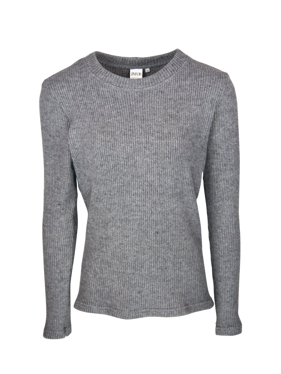 Crew Neck Cable Knit Sweater, Grey