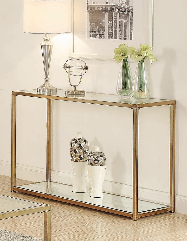 Calantha Modern Chocolate Chrome Sofa Table image