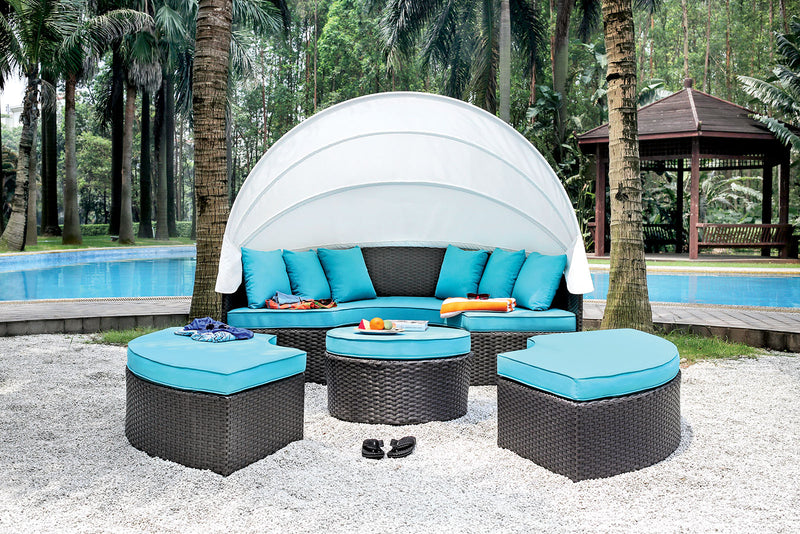 ARIA Light Brown Wicker/White Awning/Turquoise Cushion Patio Canopy Daybed image