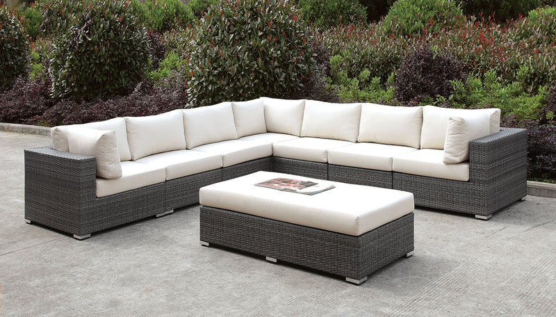 Somani Light Gray Wicker/Ivory Cushion Large L-Sectional + Bench image