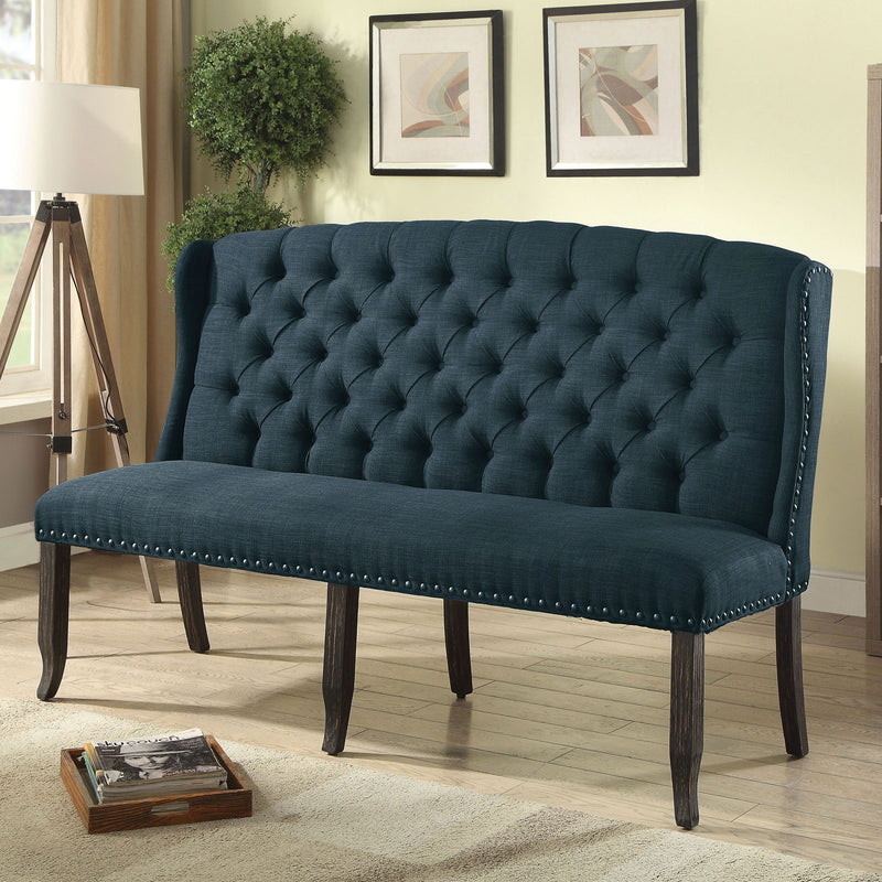 Sania III Blue 3-Seater Love Seat Bench, Blue image