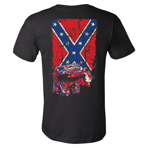 Confederate Flag Wrangler TJ Jeep Shirt - Black