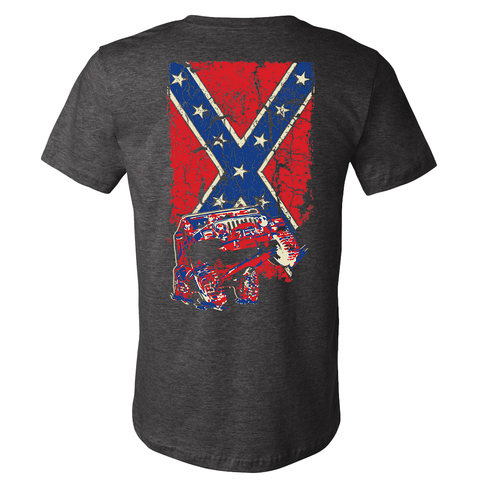 Confederate Flag Wrangler TJ Jeep Shirt - Heather Gray