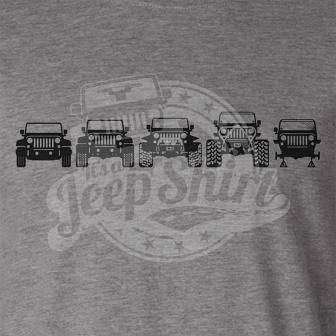 Off Road Evolution Wrangler JK Jeep Shirt  - Men's Athletic Gray