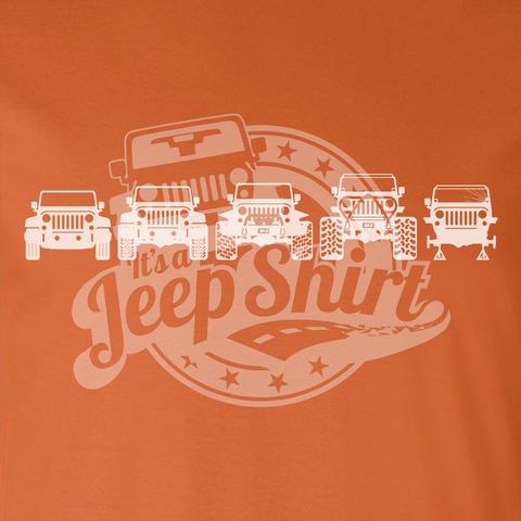 Off Road Evolution Wrangler JK Jeep Shirt  - Men's Orange