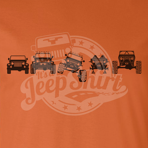 Off Road Evolution Wrangler TJ Jeep T Shirt - Men's Orange