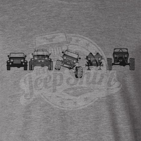 Off Road Evolution Wrangler TJ Jeep T Shirt - Men's Athletic Gray