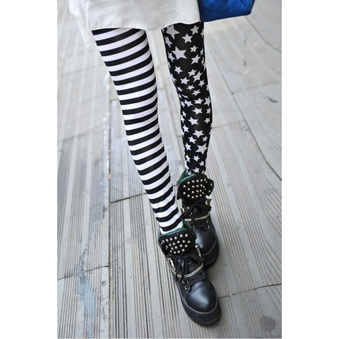 Stars and Stripes Leggings - Black and White