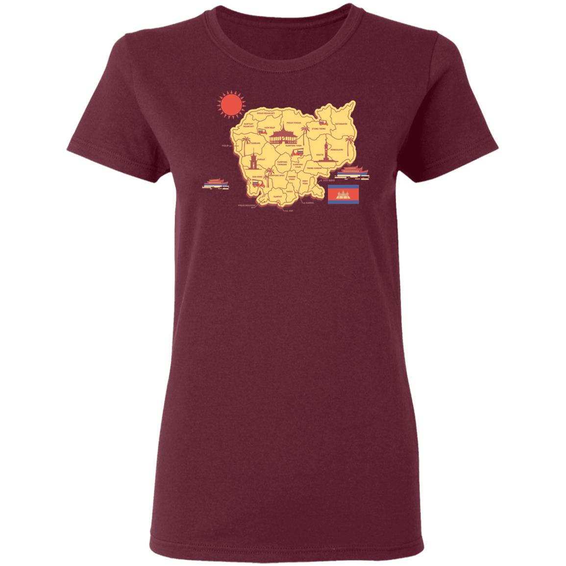 Cambodia travel map G500L Ladies' 5.3 oz. T-Shirt