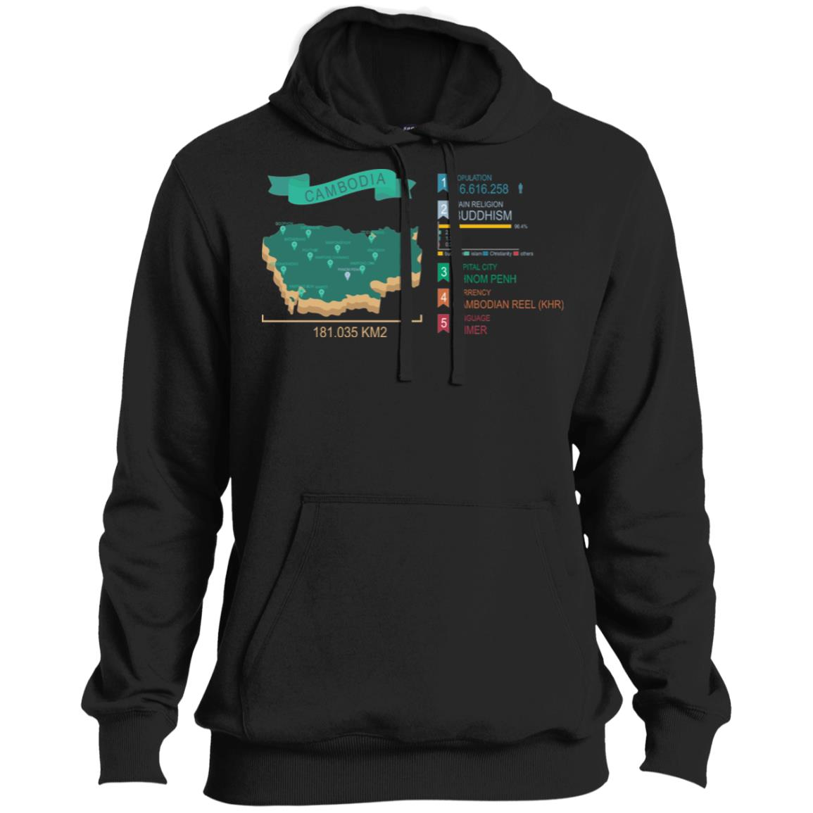 Cambodia map Pullover Hoodie