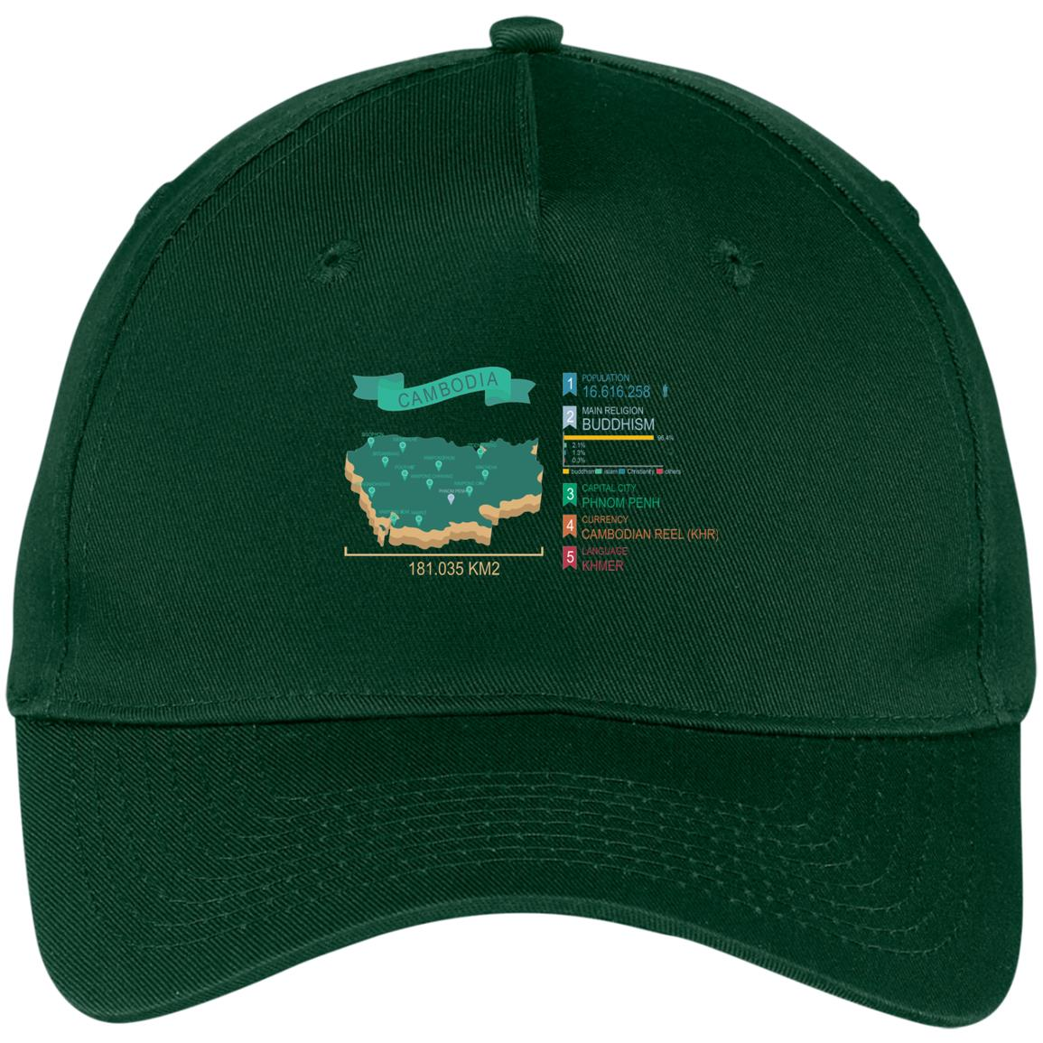 Cambodia map Five Panel Twill Cap