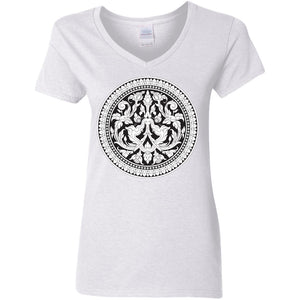 Open image in slideshow, Kbach Khmer Kbal Krut G500VL Ladies' 5.3 oz. V-Neck T-Shirt
