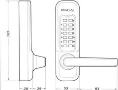 Lockey 1150 Digital Door Lock Dimensions