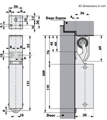 Door Damper DD14 Dimensions