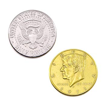 Double Sided Half Dollar-Gold-Silver