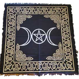 Triple Goddess Pentagram Altar Cloth