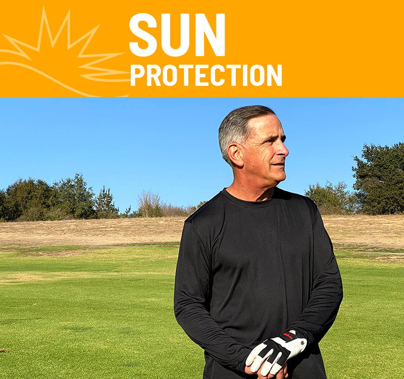 Sun Protection with man in field