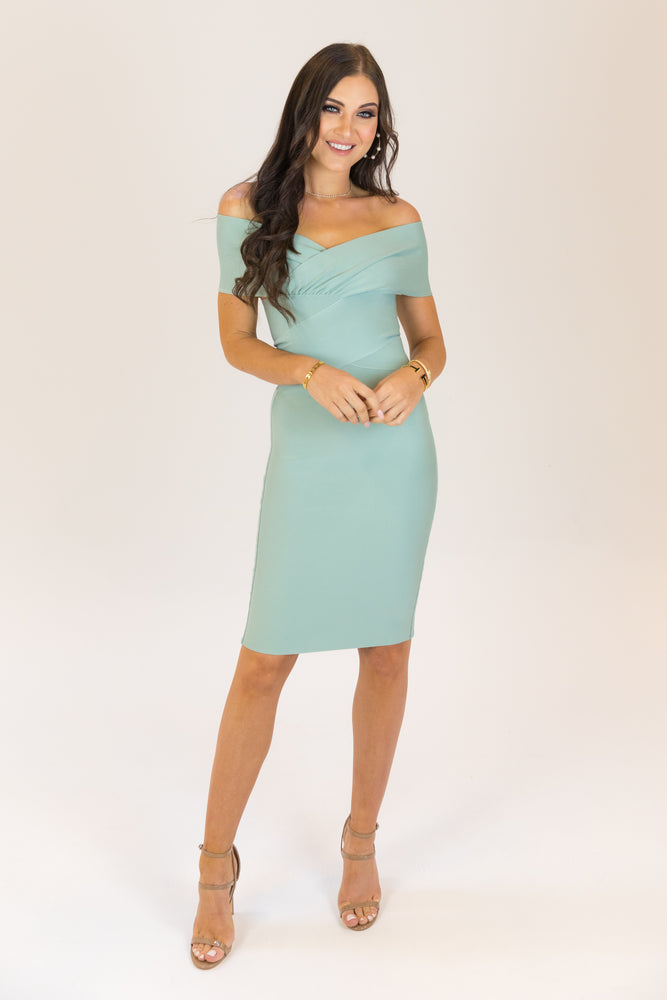 Heaven Sent Off Shoulder Bodycon Bandage Dress Sage Green