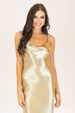 Floating Midaxi Bias Cut Slip Dress Gold