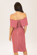Sweet Time Off Shoulder Bodycon Bandage Dress Mauve Pink