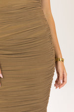 Lowkey Ruched Midaxi Bodycon Dress Camel
