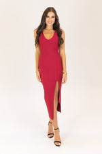 Show Love Bodycon Midi Bandage Dress Maroon
