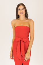 The Weekend Strapless Bodycon Midaxi Bandage Dress Red