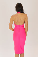 Simmer Halter Neck Midi Bodycon Bandage Dress Fuschia