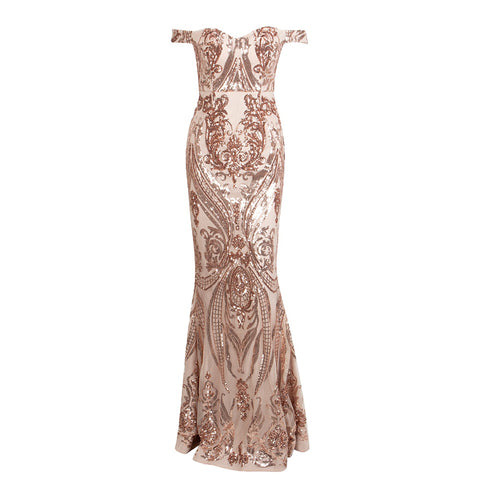 Adorn Off Shoulder Sequin Lace Evening Gown - Gold *SPECIAL ORDER*