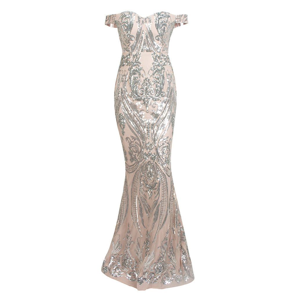 Adorn Off Shoulder Sequin Lace Evening Gown - Silver *SPECIAL ORDER*