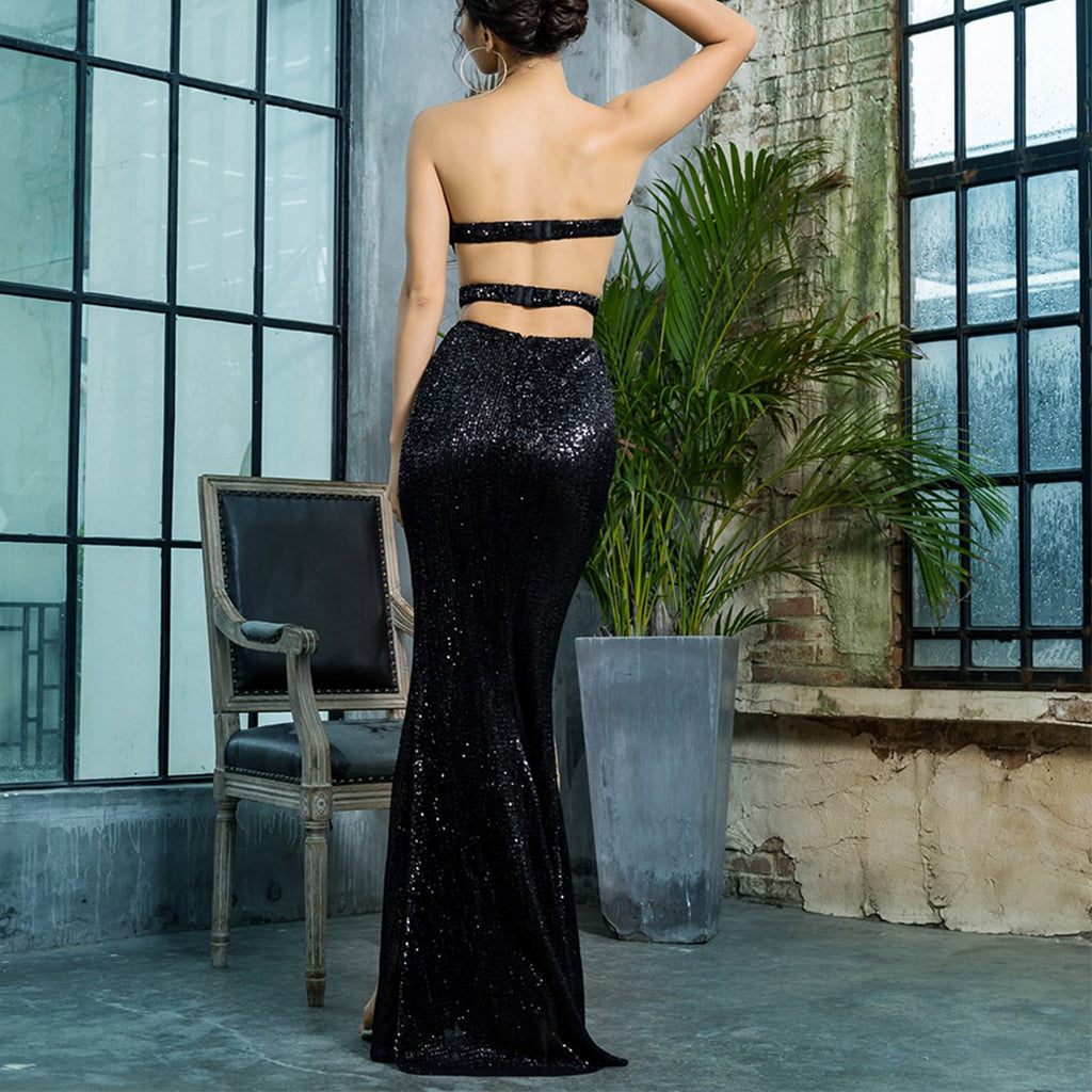 Allure Strapless Sequin Evening Gown - Black *SPECIAL ORDER*