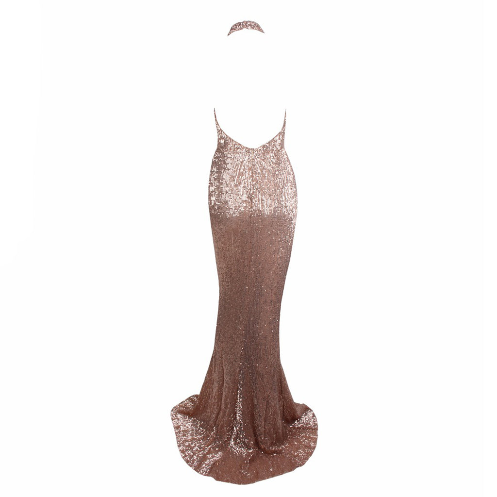 Audrey Halter Neck Backless Sequin Evening Gown - Champagne *SPECIAL ORDER*