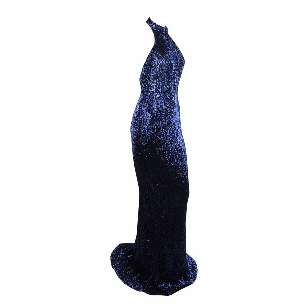 Audrey Halter Neck Backless Sequin Evening Gown - Navy *SPECIAL ORDER*